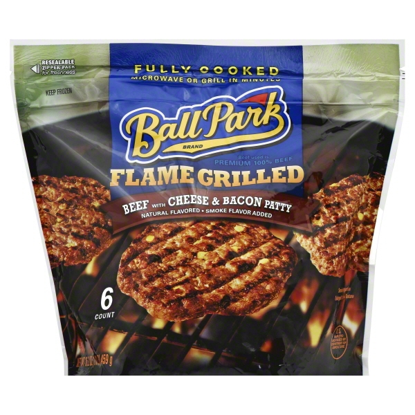 Ball Park® Fully-Cooked Flame Grilled Beef with Cheese & Bacon Patties, 6 Count (Frozen)
