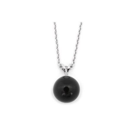 Solid Sterling Silver Rhodium Plated 6mm Black Simulated Onyx Pendant Necklace, 16