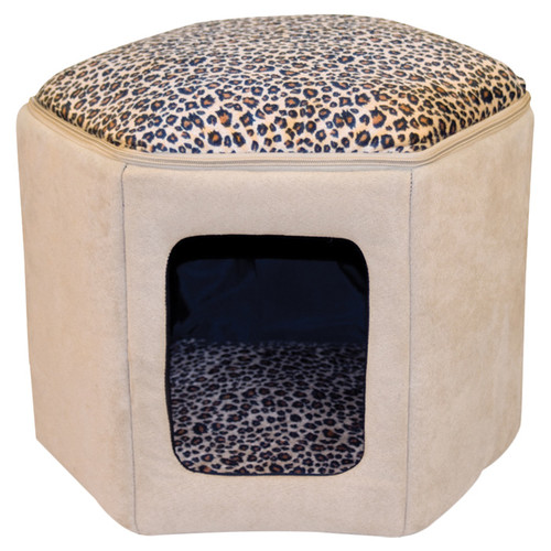 K&H Manufacturing Kitty Sleep House in Tan & Leopard