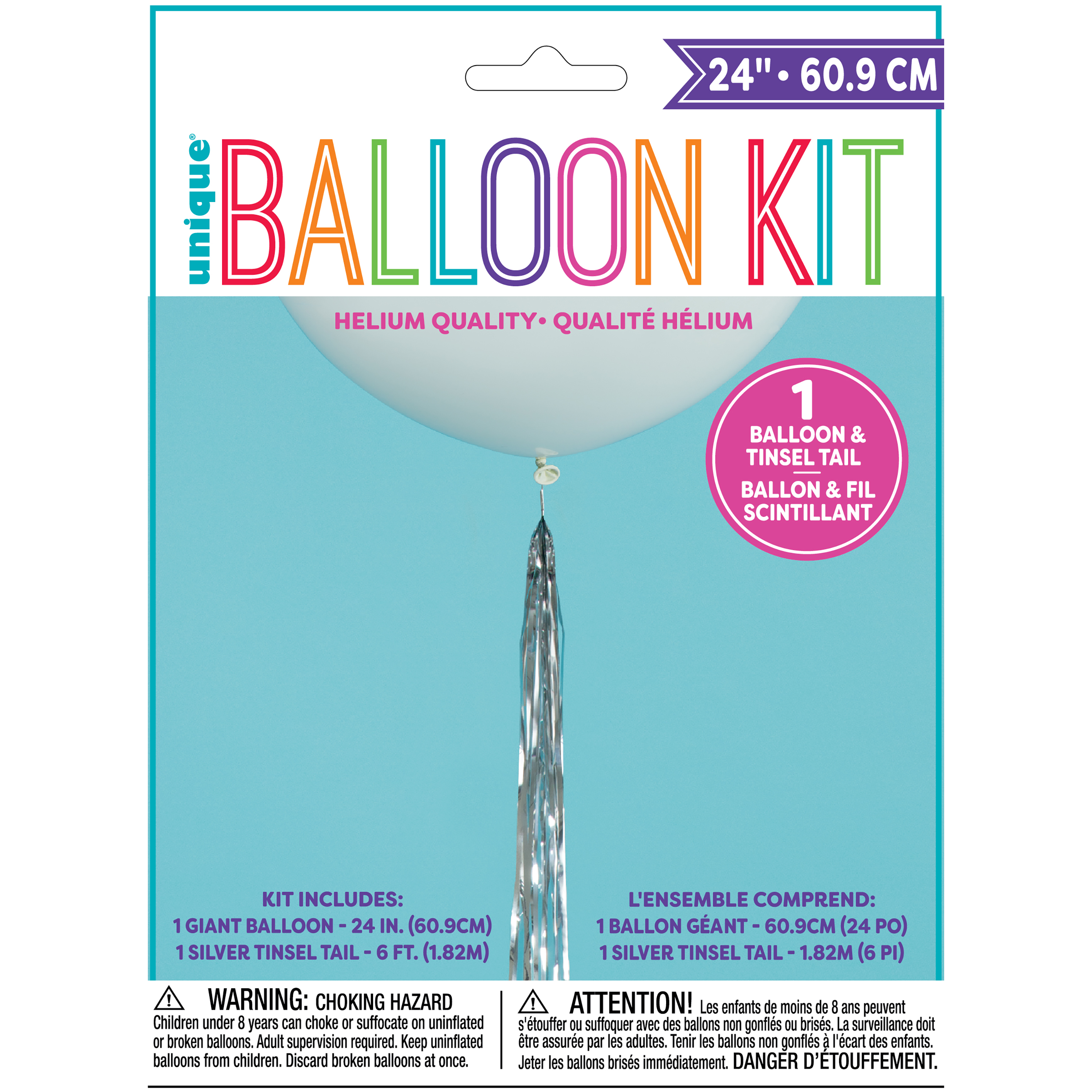 Big Latex Balloon with Silver Tassel, 24 in, White, 1ct