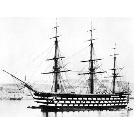 Ships Hms Victoria Nhms Victoria Launched In 1859 The Last British Wooden Three-Decker 1St Rate Ship-Of-The-Line And Flagship Of The Mediterranean Fleet From 1864-67 Rolled Canvas Art -  (24 x