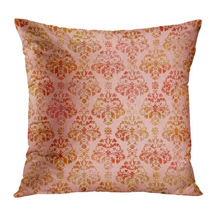ECCOT Green Abstract Peach Coral Damask Pattern Orange Antique Autumn Baroque Beautiful Beauty Pillowcase Pillow Cover Cushion Case 20x20 inch