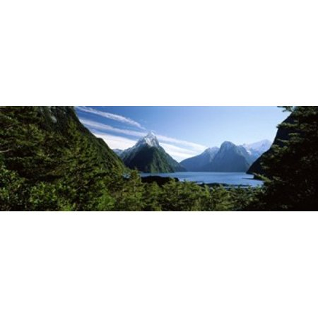 Fiordland National Park - Lake with mountains in the background Milford Sound Fiordland National Park South Island New Zealand Canvas Art - Panoramic Images (18 x 6)