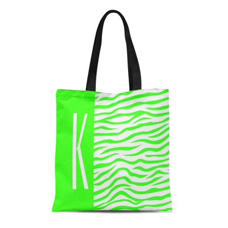 LADDKE Canvas Tote Bag Girly Neon Green White Zebra Stripes Personalized Monogram Cool Reusable Handbag Shoulder Grocery Shopping Bags