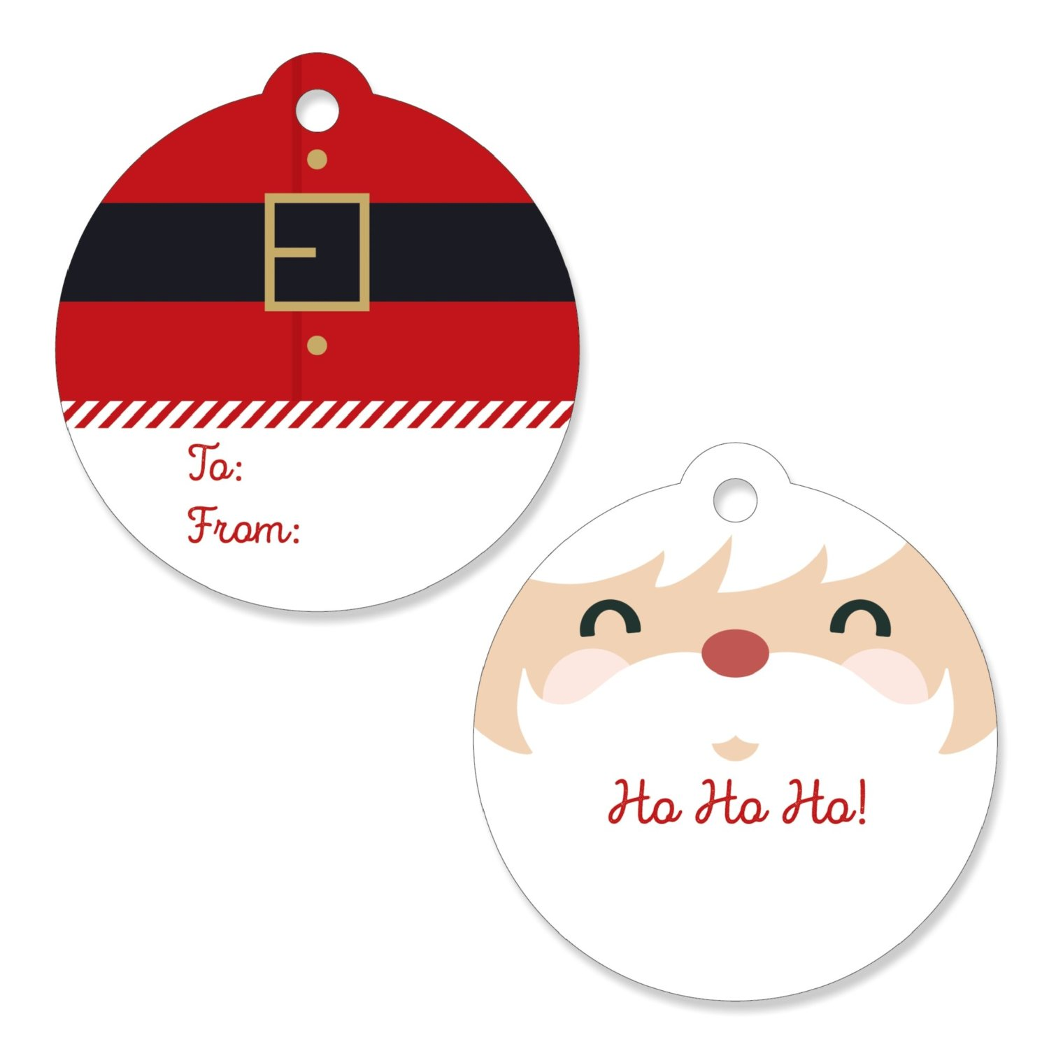 Jolly Santa Claus - Christmas Party Favor Tags (Set of 20)