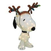 """20"""" Pre-Lit Peanuts Soft Tinsel Snoopy with Reindeer Antlers Christmas Yard Art Decoration by Product Works"""