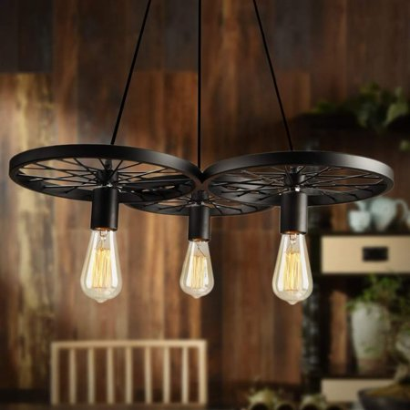 Coffee 3 Arm Ceiling Light E27 Pendant Lamp Metal Wheels Chandelier Vintage Down For Dining Room Bedroom