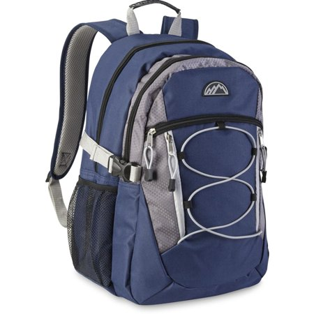 Mountain Edge Blue Gray Backpack with Laptop Pocket & Bungee School Travel Pack