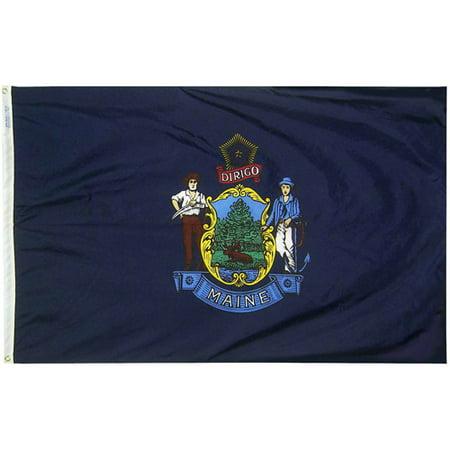 Maine State Flag, 4' x 6', Nylon SolarGuard Nyl-Glo, Model# 142270