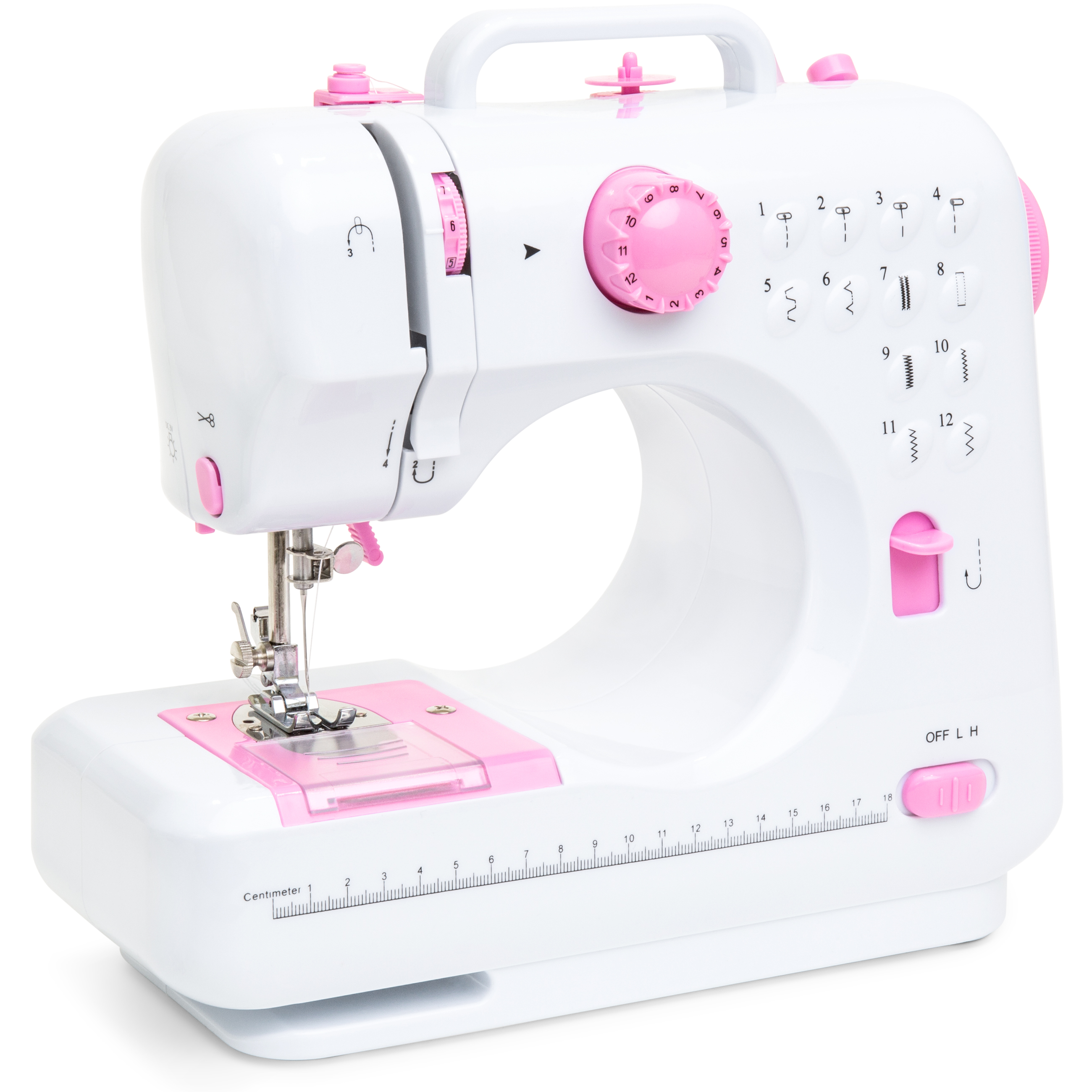 Best Choice Products 6V Compact Sewing Machine w/ 12 Stitch Patterns, Sewing Light, Drawer, Foot Pedal - White