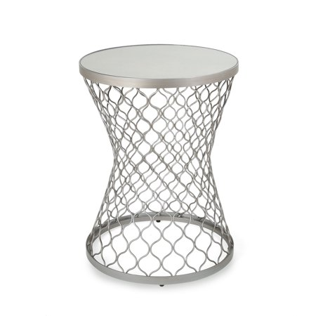 Christopher Knight Home Barclay Modern Iron Hourglass Accent Table with Mirrored Top by