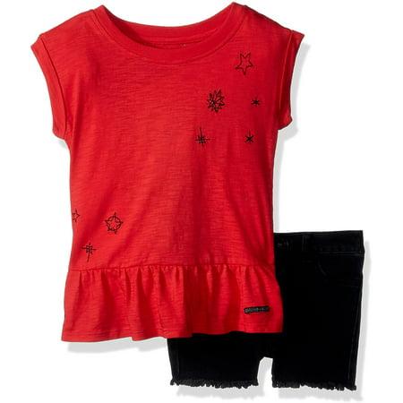 HUDSON Baby Toddler Girls' 2pc Short Set,Black Vintage,3T - image 1 of 1