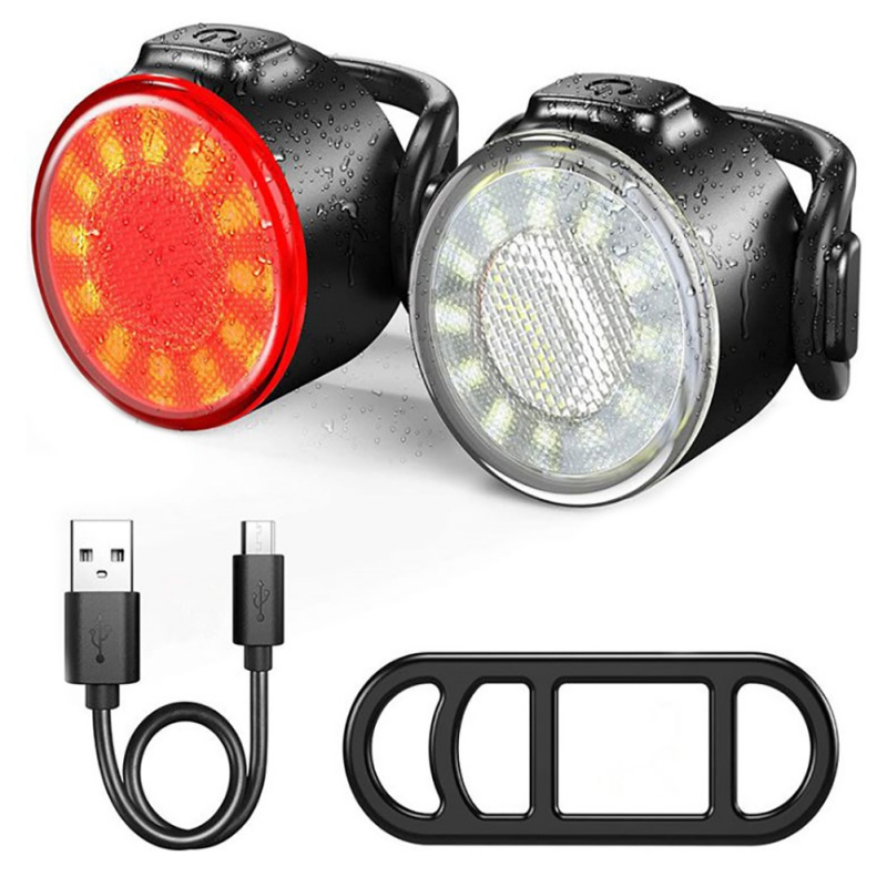 Details about  /LED Bike Lights Taillight Caution Bicycle Lights Warning USB Charging 4 Modes