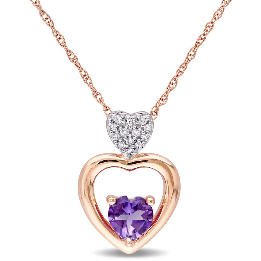 """Tangelo 3 8 Carat T.G.W Amethyst and Diamond-Accent 10kt Rose Gold Tiered Heart Pendant, 17"""" by Tangelo"""