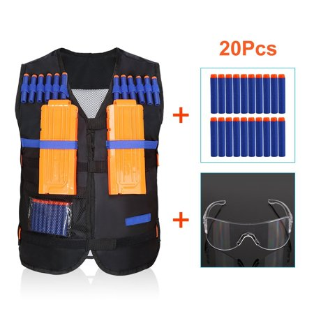 EECOO Elite Tactical Vest Jacket + 20 Refill Soft Darts Bullets + Protective Goggles for Gun Elite Series Pistol Foam Bullets Toy Guns
