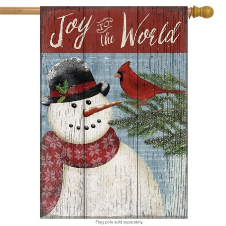 joy to the world snowman christmas house flag primitive seasonal 28