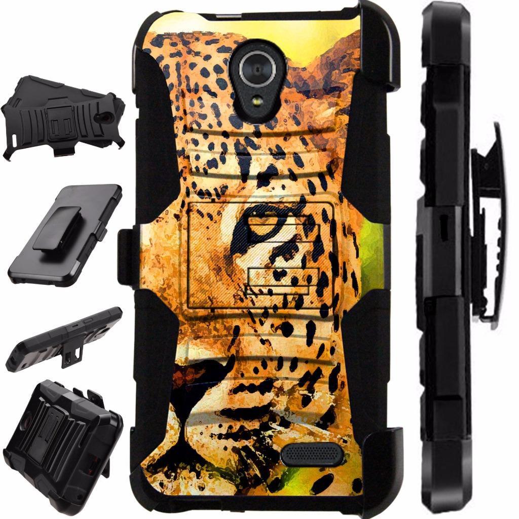 For Alcatel idealXCITE / Alcatel Verso / Alcatel Raven / Alcatel CameoX / Alcatel Fiji Case Armor Hybrid Phone Cover Stand LuxGuard Holster (Half Cheetah)