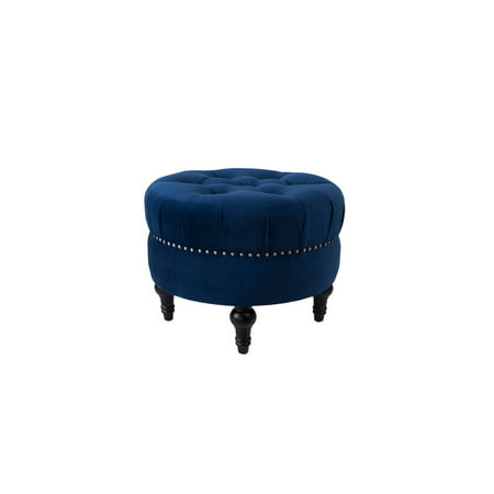 Superb Jennifer Taylor Home Dawn Tufted Round Ottoman Nailhead Accents Navy Blue Gmtry Best Dining Table And Chair Ideas Images Gmtryco