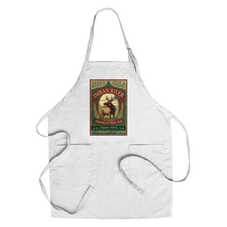 Indian Pale Ale - Indian River, Michigan - Elk Pale Ale Vintage Sign - Lantern Press Artwork (Cotton/Polyester Chef's Apron)