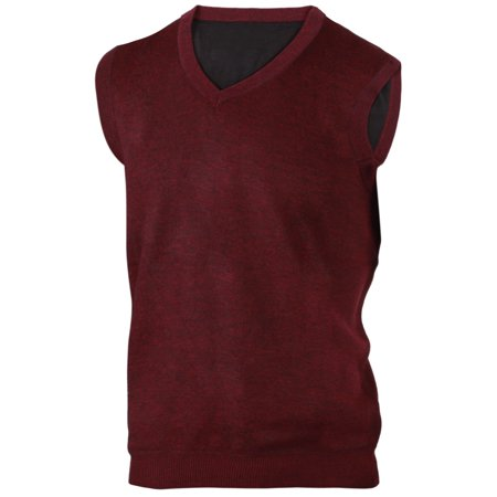 Mens Classic V-neck Sweater - Enimay Mens' Argyle Plain V-Neck Sweater Vest Burgundy Size S