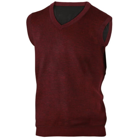 Enimay Mens' Argyle Plain V-Neck Sweater Vest Burgundy Size S
