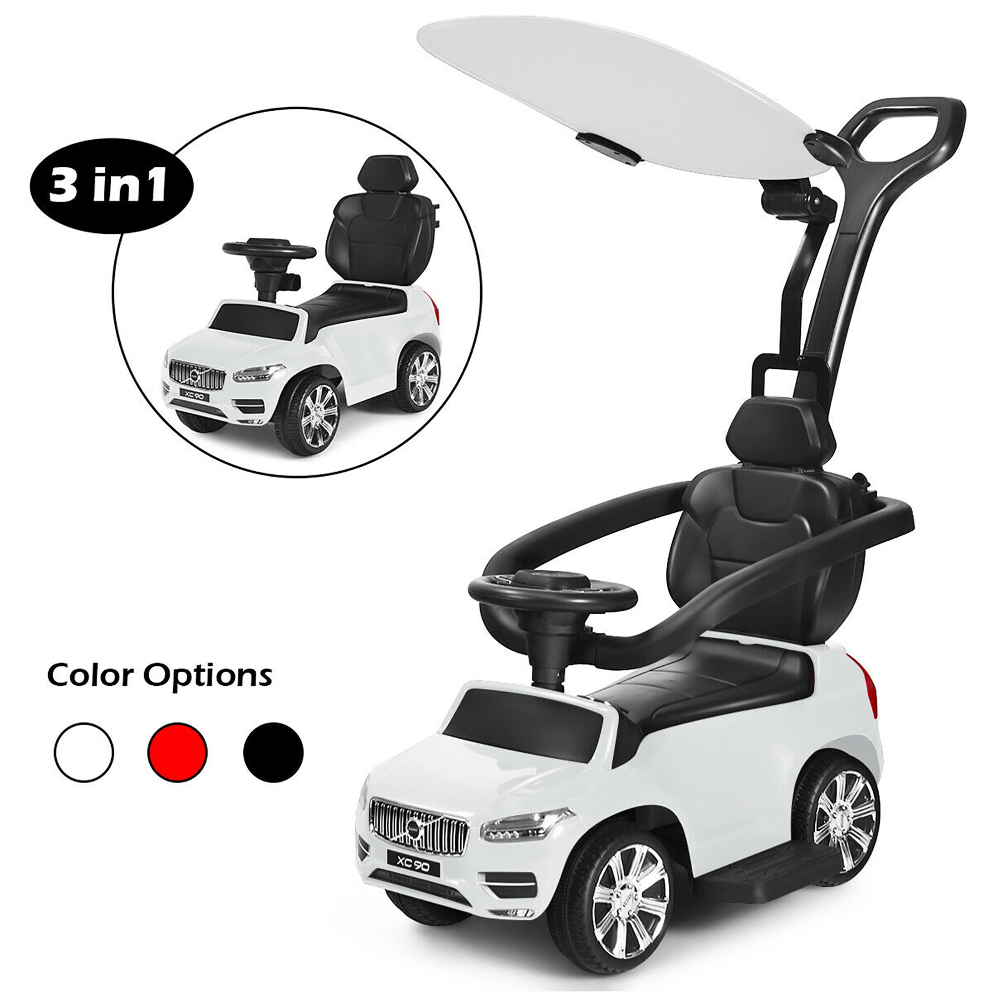 Uenjoy Ride On Toys 3 in 1 Baby Push Car,Convertible Toddler Walker/&Stroller Car Light for 10-48 Months Boys/&Girls,with Adjustable Push Rod Seat Belt-White Detachable Fence,Storage Space,Music
