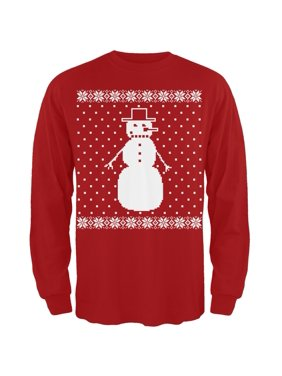 104a61dd Product Image Big Snowman Ugly Christmas Sweater Red Long Sleeve T-Shirt