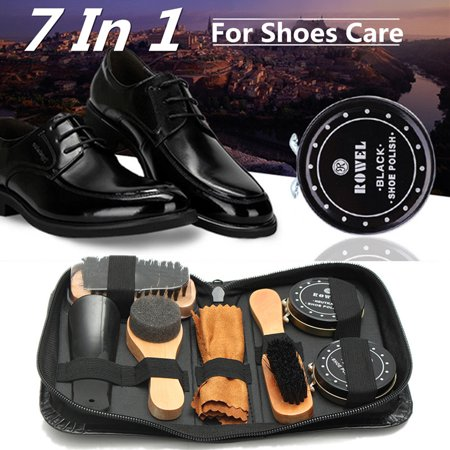 7 In 1 Portable Shoe Shine Care Kit Neutral Polish Brush Set for Boots Shoes Care +Leather Case (Small Shoe Shine Kit)
