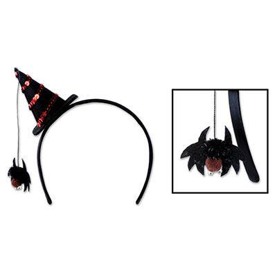Club Pack of 12 Dangling Spider Witch Hat Halloween Bopper Headband - Head Boppers Wholesale