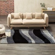 Mecor Collection Area Rug Cozy Solid Flokati Shaggy Carpet Multicolor for Living Room/Bedroom Floor(3'x5'),Gray Waves