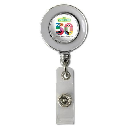 Sesame Street 50th Anniversary Logo Retractable Reel Chrome Badge ID Card Holder Clip