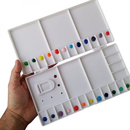 Large Watercolor Folding Palette - 33 Mixing Wells - Box Cover Lid Opens Flat For Art Studio + Thumbhole For Plein Air Painting - Rigger Art Acrylic & Oil Palettes. Color: White 10.2 x 5.1 Pallet