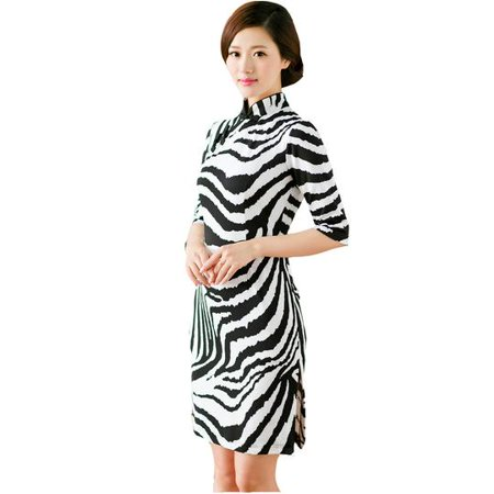 17f219c79 2 For 1 - Women Special 1/2 Long Sleeve Modern Mandarin Chinese Cheongsam  Qipao Sheath Short Dress(Black/white waves prints) - Walmart.com