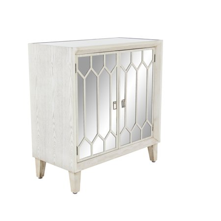 Decmode Modern 34 X 32 Inch Wood, Iron And Stainless Steel Two-Door Cabinet 32 Inch Depth Cabinet