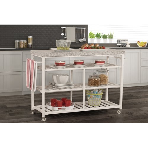 August Grove Geary Kitchen Island with Granite Top