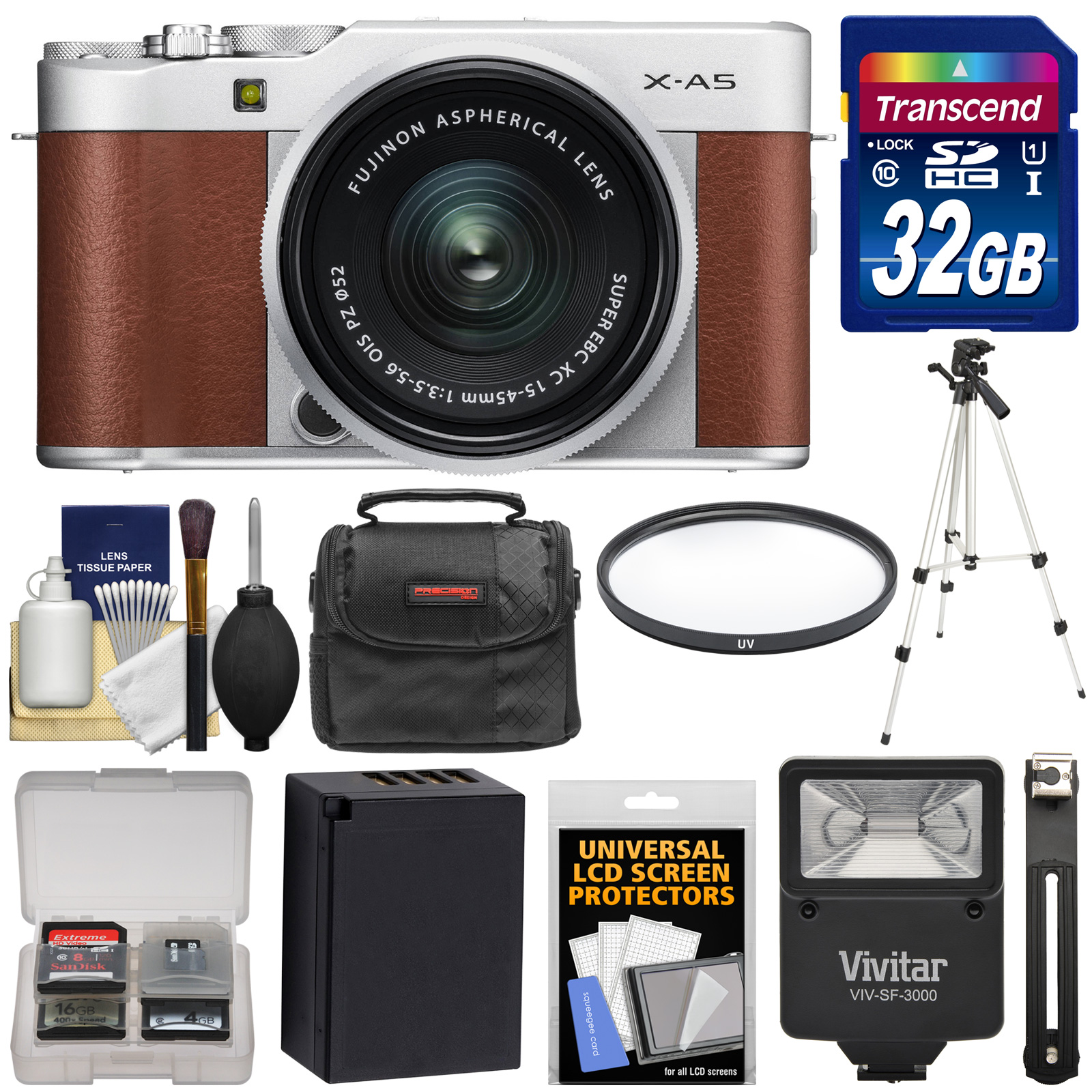 Fujifilm X-A5 Wi-Fi Digital Camera & 15-45mm XC Lens (Brown) with 32GB Card + Battery + Case + Tripod + Flash + Filter + Kit