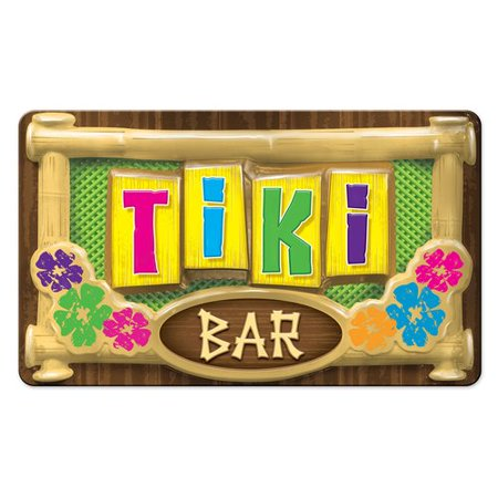 The Beistle Company 3-D Plastic Tiki Bar Sign Wall D cor