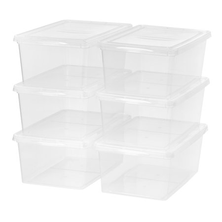 Mainstays 17 Quart/4.25 Gallon Sweater Box Storage, Clear, 6 Pack (Clear Box)