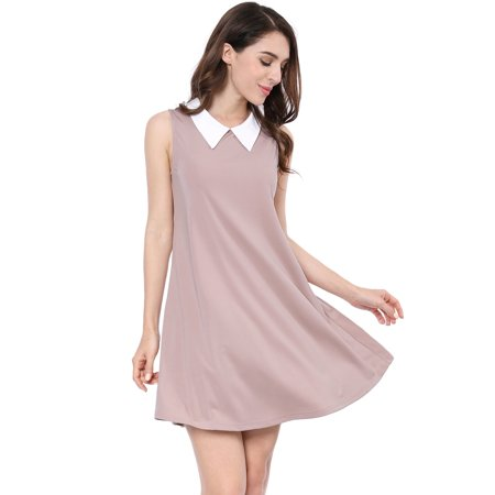 Women's Sleeveless Contrast Color Peter Pan Collar Above Knee Swing Dress Pink XS (US 2) (Fur Collar Dress)