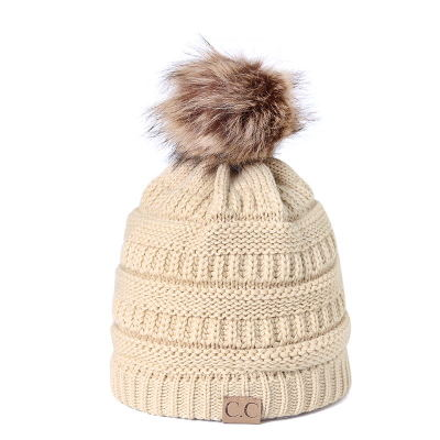 102f089c5237e Winter CC Beanie Faux Fur ball Hats Ladies Women Girls Knitted Wool Hat  Skullies Thicken Warm Caps