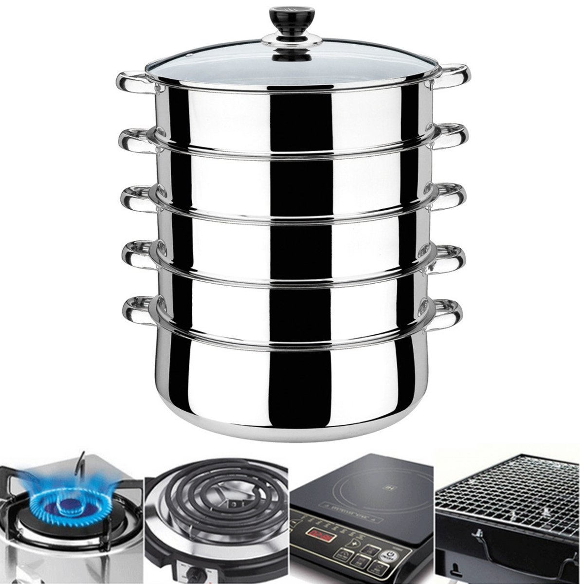 KingSo 5 Tier Stainless Steel Steamer Pot,Basket Metal Steaming Cookware for Crab Seafood Food Vegetable Bamboo,30x 41cm