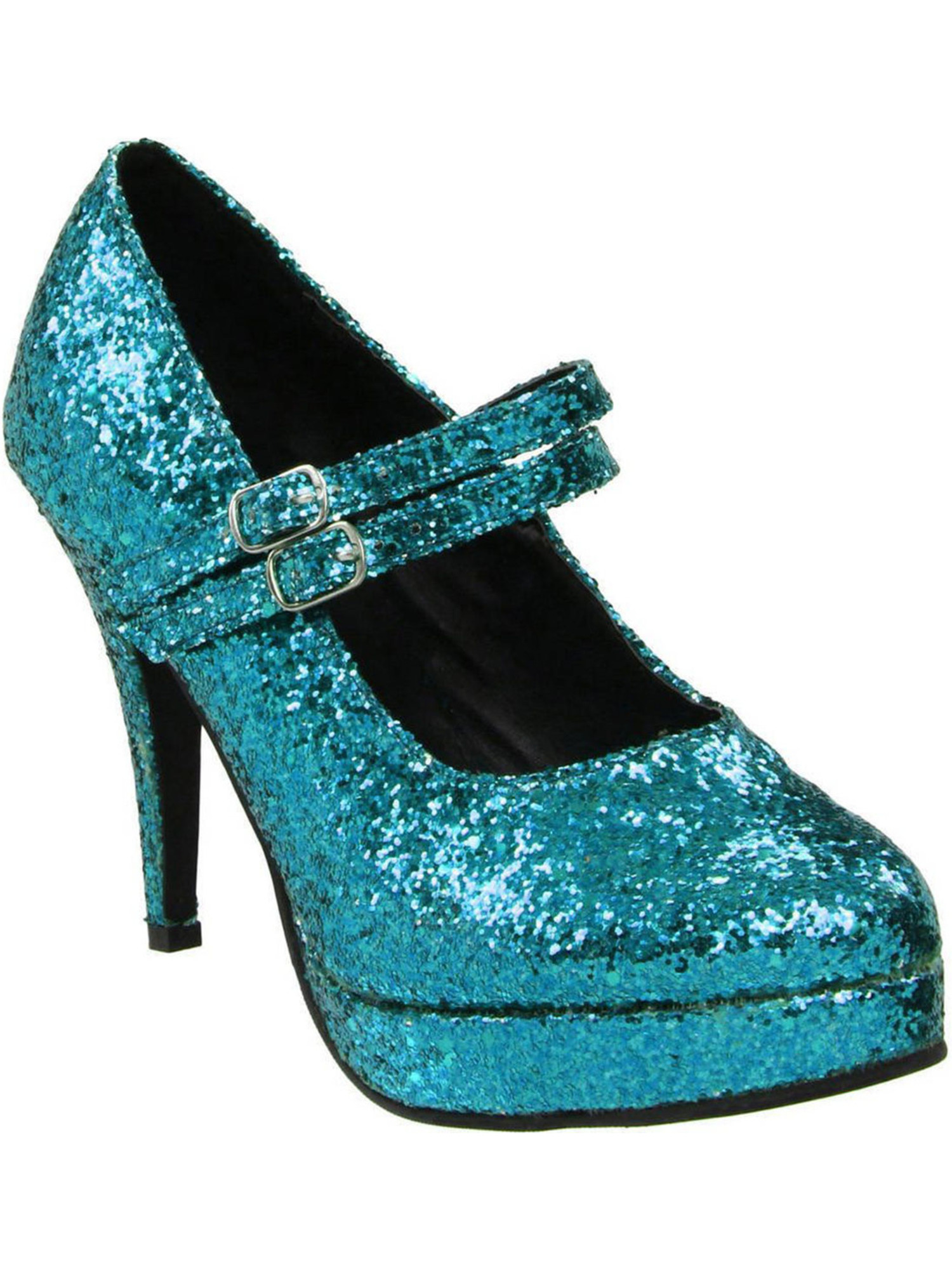 Frosty Ice Blue Glitter Heels Women's Dual Strap Mary Jane Shoes with 4'' Heels