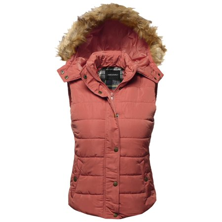 FashionOutfit Women's Casual Cute Detachable Fur Hood Padded Vest ()