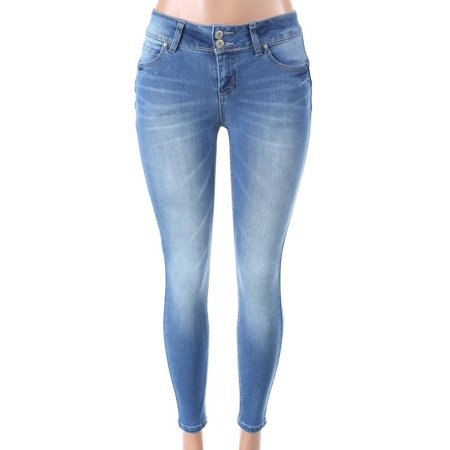 Salt Tree Women's Wax Two Button Front Mid Wasted Jean, US Seller