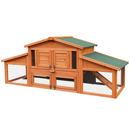 Merax 70 Inch Wooden Rabbit Hutch Outdoor Pet House Cage