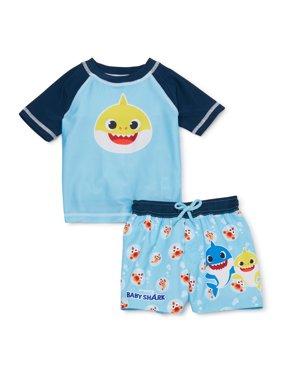 Baby Shark Baby Boy Rashguard & Swim Trunks, 2pc Set