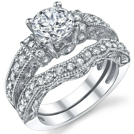 1.25 Carat Solid Sterling Silver Wedding Engagement Ring Set, Bridal Ring, with Cubic Zirconia CZ Sizes 4 to11 Bridal Set Silver Ring