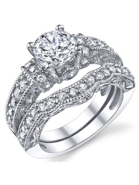 1.25 Carat Solid Sterling Silver Wedding Engagement Ring Set, Bridal Ring, with Cubic Zirconia CZ Sizes 4 to11