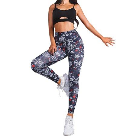 Christmas Running Leggings.Ukap Christmas Women Snow Printing Sport Pants High Waist