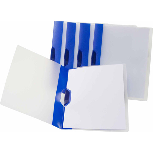 Storex Swing Clip Clear Report Covers, Stripes